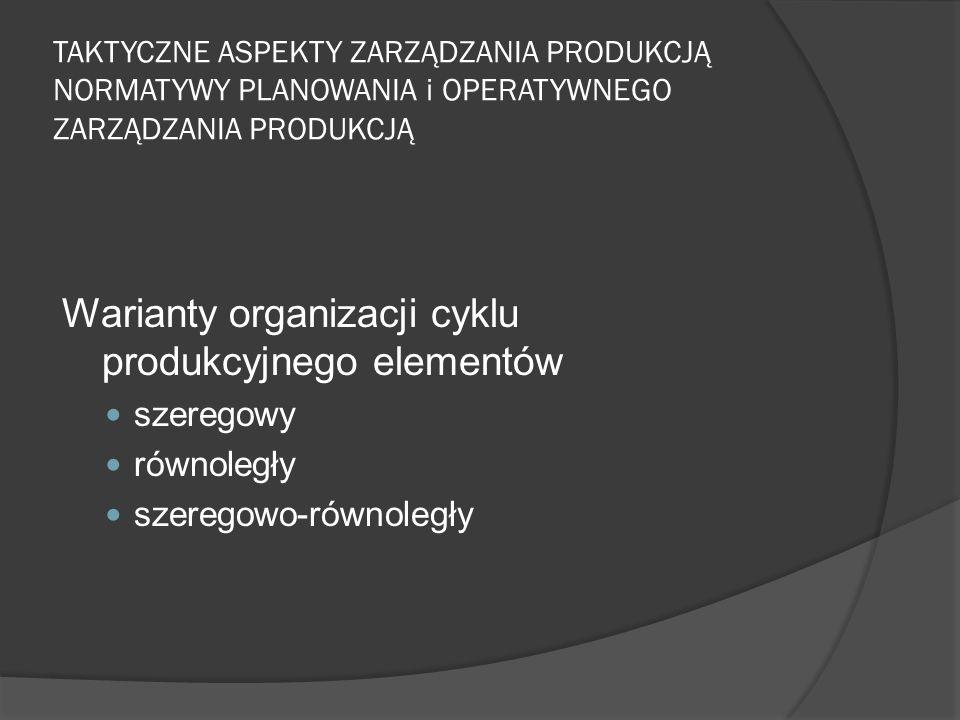 TAKTYCZNE ASPEKTY ZARZĄDZANIA PRODUKCJĄ NORMATYWY PLANOWANIA i OPERATYWNEGO ZARZĄDZANIA PRODUKCJĄ Warianty organizacji cyklu produkcyjnego elementów szeregowy równoległy szeregowo-równoległy