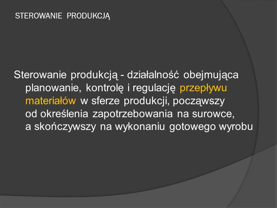 STEROWANIE PRODUKCJĄ Sterowanie produkcją - działalność obejmująca planowanie, kontrolę i regulację przepływu materiałów w sferze produkcji, począwszy od określenia zapotrzebowania na surowce, a skończywszy na wykonaniu gotowego wyrobu