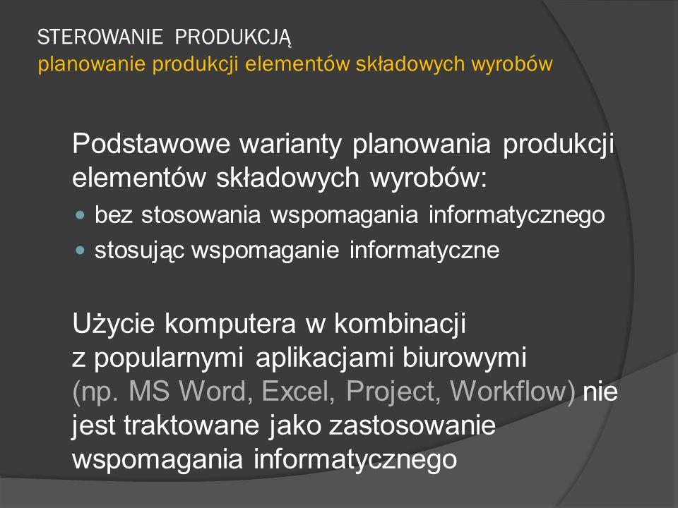 STEROWANIE PRODUKCJĄ planowanie produkcji elementów składowych wyrobów Podstawowe warianty planowania produkcji elementów składowych wyrobów: bez stosowania wspomagania informatycznego stosując wspomaganie informatyczne Użycie komputera w kombinacji z popularnymi aplikacjami biurowymi (np.