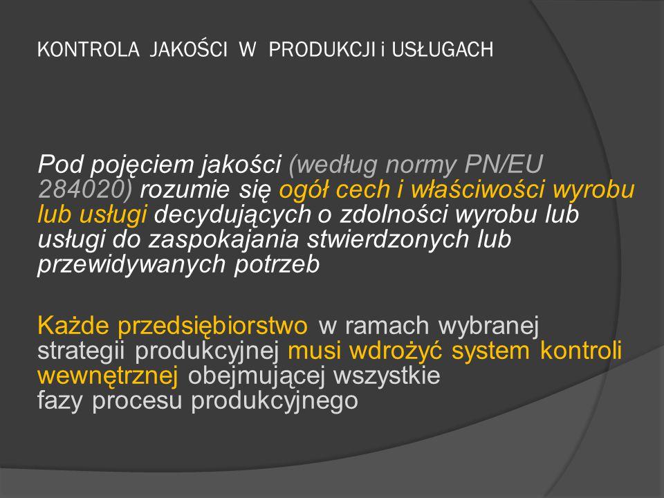 KONTROLA JAKOŚCI W PRODUKCJI i USŁUGACH Pod pojęciem jakości (według normy PN/EU 284020) rozumie się ogół cech i właściwości wyrobu lub usługi decyduj