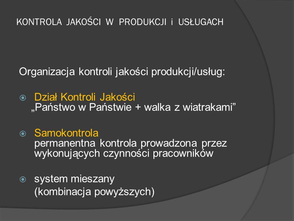 """KONTROLA JAKOŚCI W PRODUKCJI i USŁUGACH Organizacja kontroli jakości produkcji/usług:  Dział Kontroli Jakości """"Państwo w Państwie + walka z wiatrakam"""
