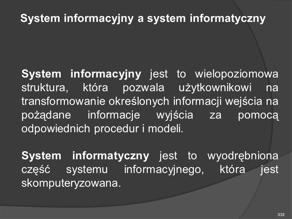 332 System informacyjny jest to wielopoziomowa struktura, która pozwala użytkownikowi na transformowanie określonych informacji wejścia na pożądane informacje wyjścia za pomocą odpowiednich procedur i modeli.