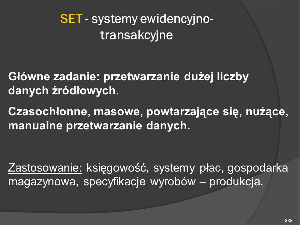 335 SET - systemy ewidencyjno- transakcyjne Główne zadanie: przetwarzanie dużej liczby danych źródłowych. Czasochłonne, masowe, powtarzające się, nużą
