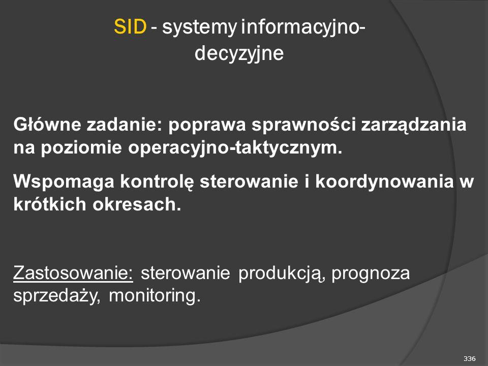 336 SID - systemy informacyjno- decyzyjne Główne zadanie: poprawa sprawności zarządzania na poziomie operacyjno-taktycznym. Wspomaga kontrolę sterowan