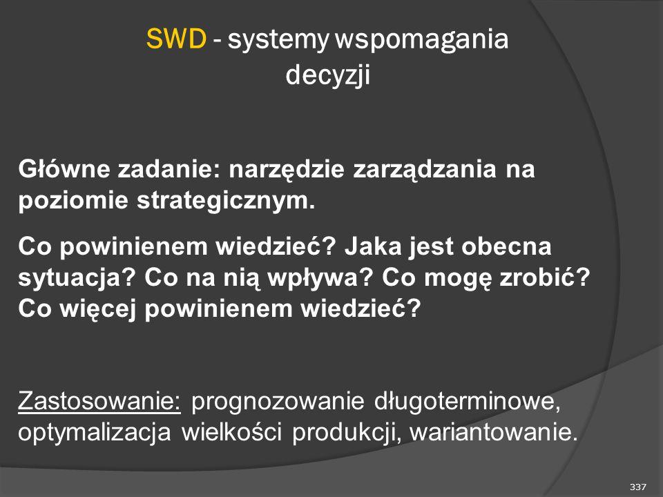 337 SWD - systemy wspomagania decyzji Główne zadanie: narzędzie zarządzania na poziomie strategicznym.