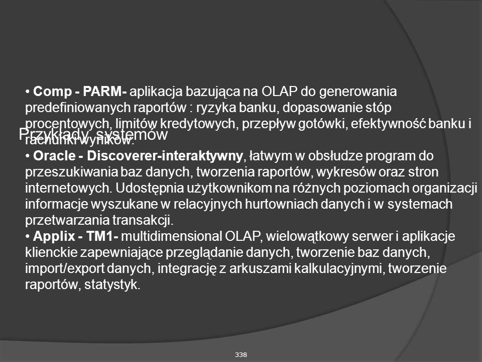 338 Przykłady systemów Comp - PARM- aplikacja bazująca na OLAP do generowania predefiniowanych raportów : ryzyka banku, dopasowanie stóp procentowych, limitów kredytowych, przepływ gotówki, efektywność banku i rachunki wyników.