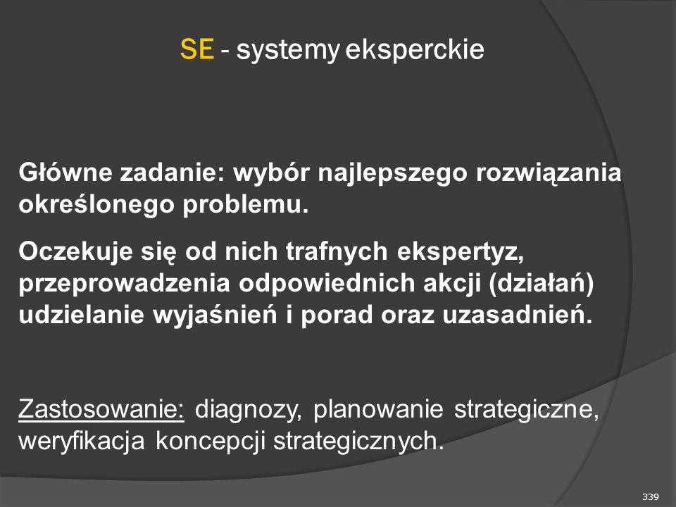339 SE - systemy eksperckie Główne zadanie: wybór najlepszego rozwiązania określonego problemu. Oczekuje się od nich trafnych ekspertyz, przeprowadzen
