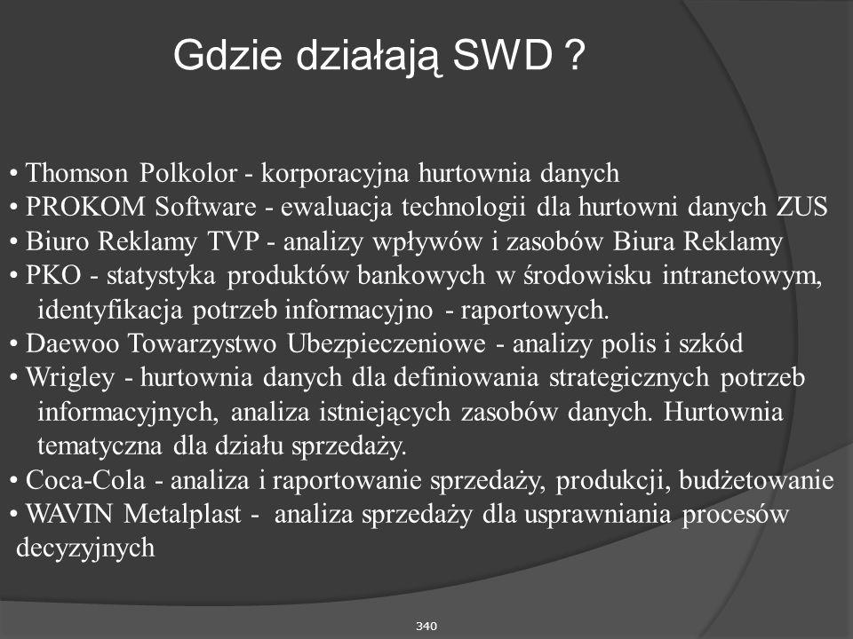340 Gdzie działają SWD ? Thomson Polkolor - korporacyjna hurtownia danych PROKOM Software - ewaluacja technologii dla hurtowni danych ZUS Biuro Reklam