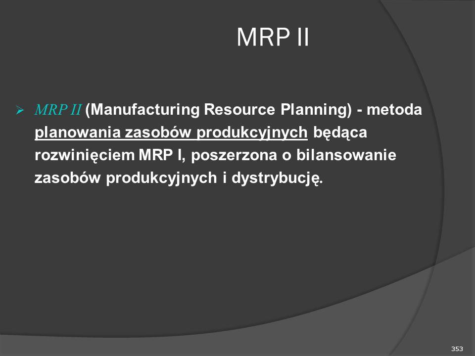 353 MRP II  MRP II (Manufacturing Resource Planning) - metoda planowania zasobów produkcyjnych będąca rozwinięciem MRP I, poszerzona o bilansowanie zasobów produkcyjnych i dystrybucję.