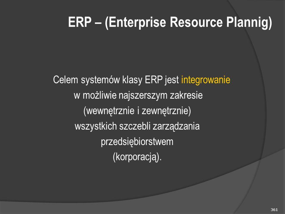 361 ERP – (Enterprise Resource Plannig) Celem systemów klasy ERP jest integrowanie w możliwie najszerszym zakresie (wewnętrznie i zewnętrznie) wszystkich szczebli zarządzania przedsiębiorstwem (korporacją).