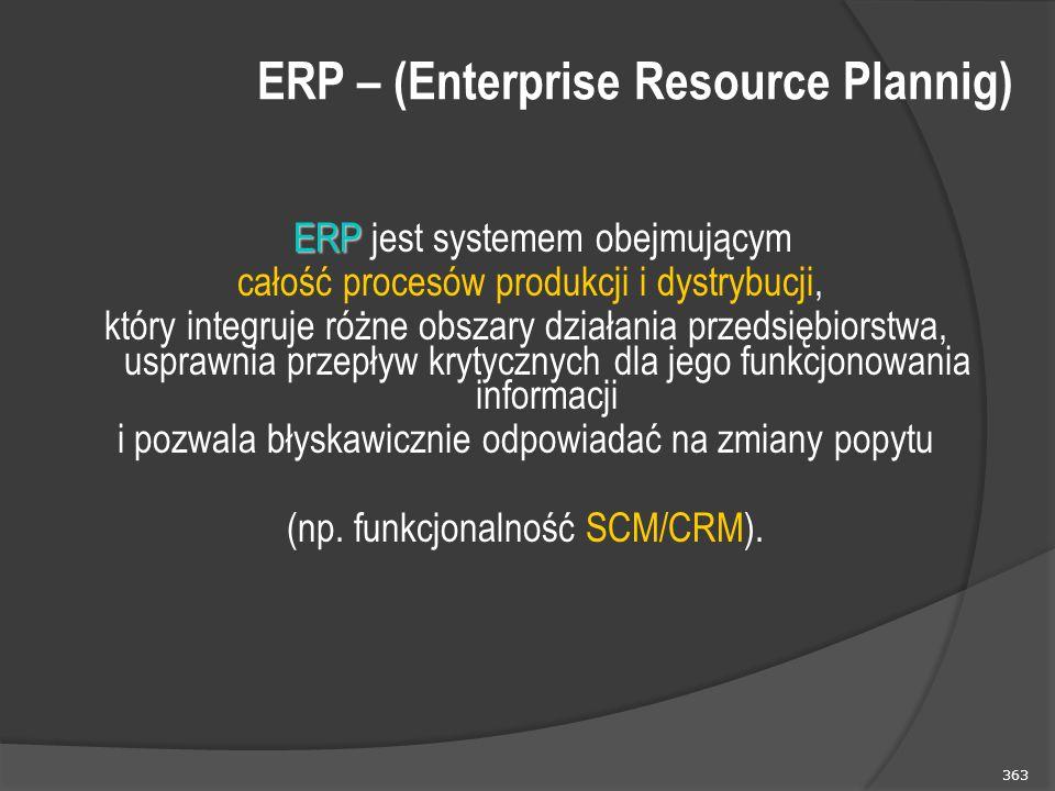 363 ERP ERP jest systemem obejmującym całość procesów produkcji i dystrybucji, który integruje różne obszary działania przedsiębiorstwa, usprawnia przepływ krytycznych dla jego funkcjonowania informacji i pozwala błyskawicznie odpowiadać na zmiany popytu (np.