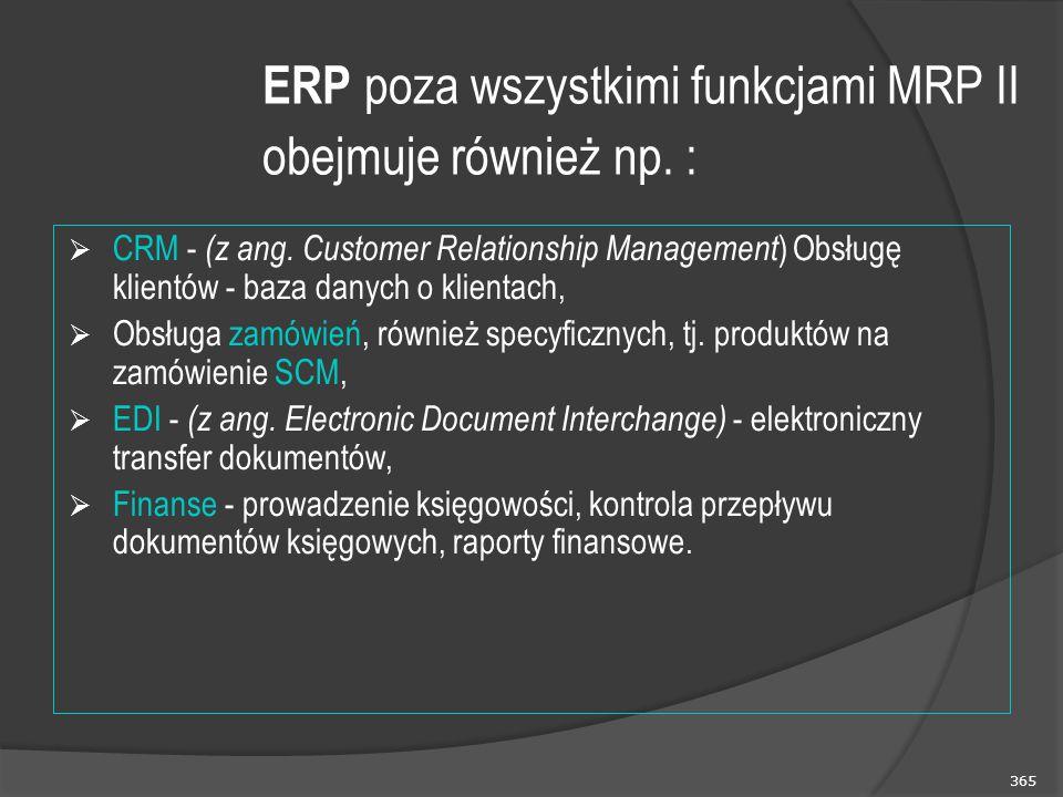 365 ERP poza wszystkimi funkcjami MRP II obejmuje również np. :  CRM - (z ang. Customer Relationship Management ) Obsługę klientów - baza danych o kl
