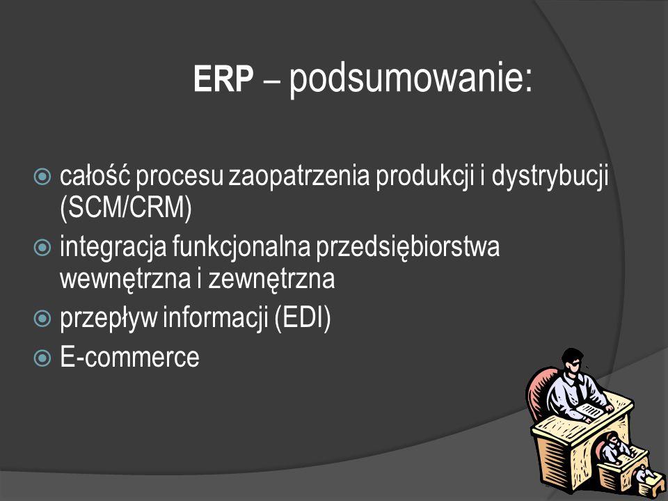367 ERP – podsumowanie:  całość procesu zaopatrzenia produkcji i dystrybucji (SCM/CRM)  integracja funkcjonalna przedsiębiorstwa wewnętrzna i zewnętrzna  przepływ informacji (EDI)  E-commerce