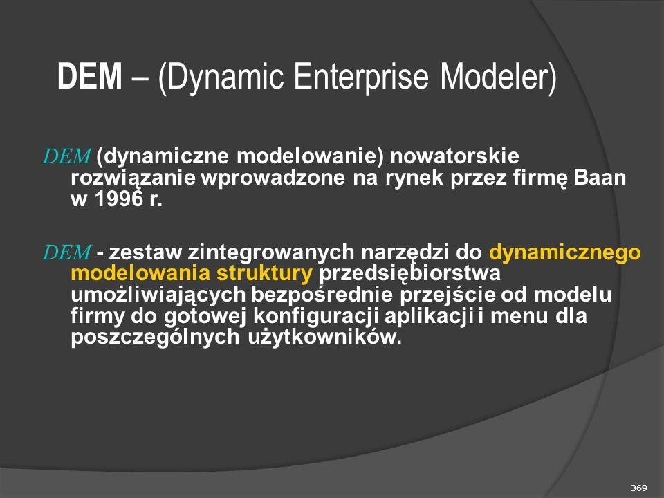 369 DEM – (Dynamic Enterprise Modeler) DEM (dynamiczne modelowanie) nowatorskie rozwiązanie wprowadzone na rynek przez firmę Baan w 1996 r. DEM - zest