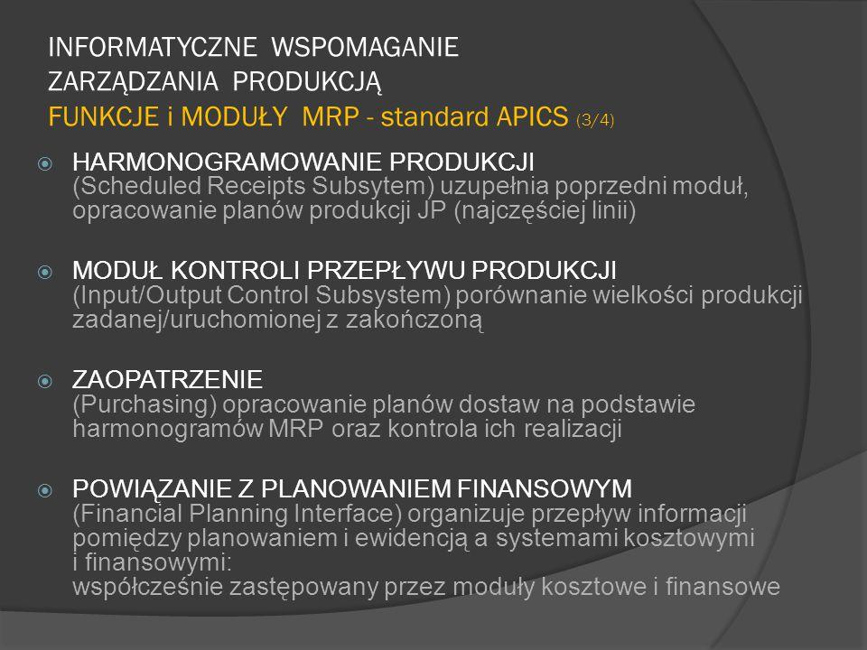 INFORMATYCZNE WSPOMAGANIE ZARZĄDZANIA PRODUKCJĄ FUNKCJE i MODUŁY MRP - standard APICS (3/4)  HARMONOGRAMOWANIE PRODUKCJI (Scheduled Receipts Subsytem) uzupełnia poprzedni moduł, opracowanie planów produkcji JP (najczęściej linii)  MODUŁ KONTROLI PRZEPŁYWU PRODUKCJI (Input/Output Control Subsystem) porównanie wielkości produkcji zadanej/uruchomionej z zakończoną  ZAOPATRZENIE (Purchasing) opracowanie planów dostaw na podstawie harmonogramów MRP oraz kontrola ich realizacji  POWIĄZANIE Z PLANOWANIEM FINANSOWYM (Financial Planning Interface) organizuje przepływ informacji pomiędzy planowaniem i ewidencją a systemami kosztowymi i finansowymi: współcześnie zastępowany przez moduły kosztowe i finansowe