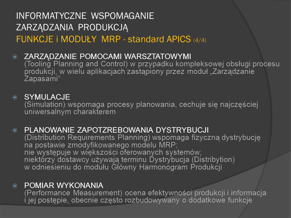 """INFORMATYCZNE WSPOMAGANIE ZARZĄDZANIA PRODUKCJĄ FUNKCJE i MODUŁY MRP - standard APICS (4/4)  ZARZĄDZANIE POMOCAMI WARSZTATOWYMI (Tooling Planning and Control) w przypadku kompleksowej obsługi procesu produkcji, w wielu aplikacjach zastąpiony przez moduł """"Zarządzanie Zapasami  SYMULACJE (Simulation) wspomaga procesy planowania, cechuje się najczęściej uniwersalnym charakterem  PLANOWANIE ZAPOTZREBOWANIA DYSTRYBUCJI (Distribution Requirements Planning) wspomaga fizyczną dystrybucję na postawie zmodyfikowanego modelu MRP; nie występuje w większości oferowanych systemów; niektórzy dostawcy używają terminu Dystrybucja (Distribytion) w odniesieniu do modułu Główny Harmonogram Produkcji  POMIAR WYKONANIA (Performance Measurement) ocena efektywności produkcji i informacja i jej postępie, obecnie często rozbudowywany o dodatkowe funkcje"""