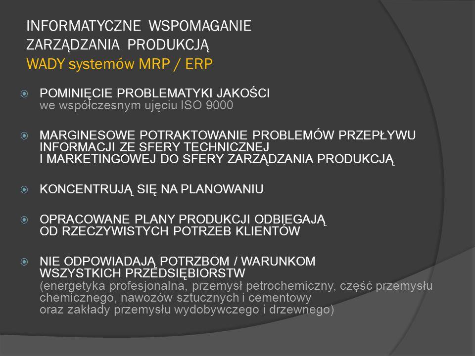INFORMATYCZNE WSPOMAGANIE ZARZĄDZANIA PRODUKCJĄ WADY systemów MRP / ERP  POMINIĘCIE PROBLEMATYKI JAKOŚCI we współczesnym ujęciu ISO 9000  MARGINESOW
