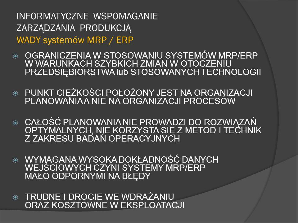 INFORMATYCZNE WSPOMAGANIE ZARZĄDZANIA PRODUKCJĄ WADY systemów MRP / ERP  OGRANICZENIA W STOSOWANIU SYSTEMÓW MRP/ERP W WARUNKACH SZYBKICH ZMIAN W OTOC