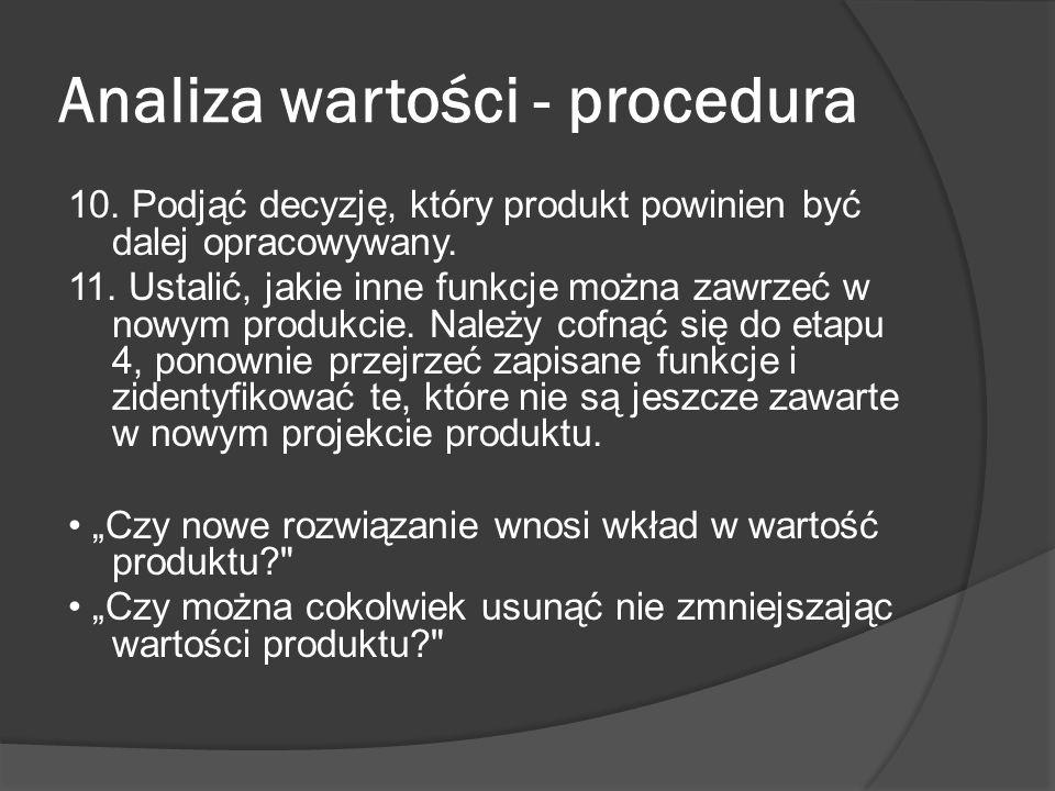 Analiza wartości - procedura 10.Podjąć decyzję, który produkt powinien być dalej opracowywany.