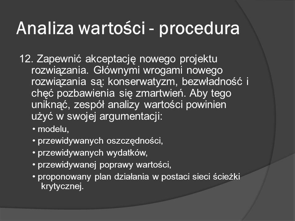 Analiza wartości - procedura 12. Zapewnić akceptację nowego projektu rozwiązania. Głównymi wrogami nowego rozwiązania są: konserwatyzm, bezwładność i