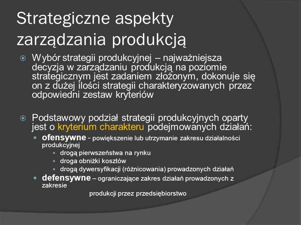 Strategiczne aspekty zarządzania produkcją  Wybór strategii produkcyjnej – najważniejsza decyzja w zarządzaniu produkcją na poziomie strategicznym jest zadaniem złożonym, dokonuje się on z dużej ilości strategii charakteryzowanych przez odpowiedni zestaw kryteriów  Podstawowy podział strategii produkcyjnych oparty jest o kryterium charakteru podejmowanych działań: ofensywne - powiększenie lub utrzymanie zakresu działalności produkcyjnej drogą pierwszeństwa na rynku droga obniżki kosztów drogą dywersyfikacji (różnicowania) prowadzonych działań defensywne – ograniczające zakres działań prowadzonych z zakresie produkcji przez przedsiębiorstwo