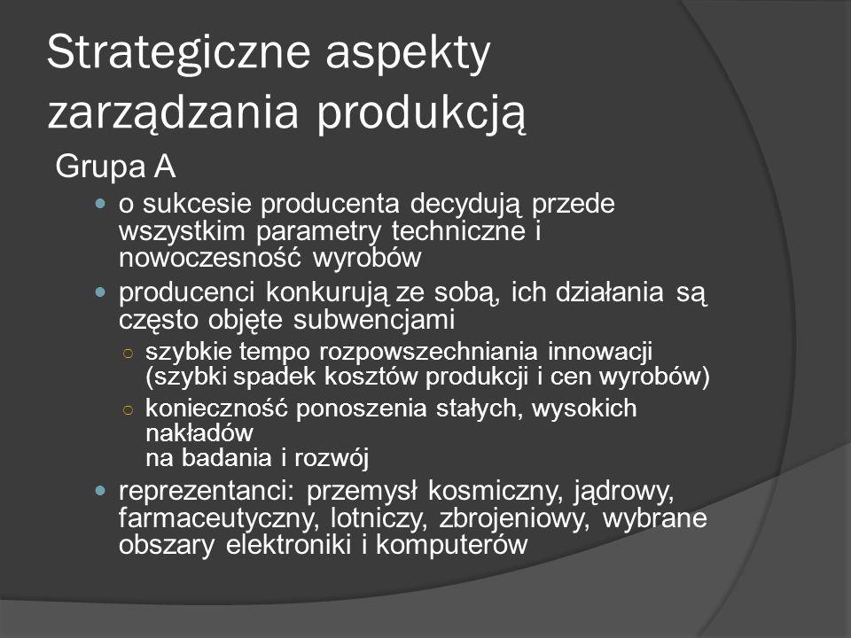 Strategiczne aspekty zarządzania produkcją Grupa A o sukcesie producenta decydują przede wszystkim parametry techniczne i nowoczesność wyrobów producenci konkurują ze sobą, ich działania są często objęte subwencjami ○ szybkie tempo rozpowszechniania innowacji (szybki spadek kosztów produkcji i cen wyrobów) ○ konieczność ponoszenia stałych, wysokich nakładów na badania i rozwój reprezentanci: przemysł kosmiczny, jądrowy, farmaceutyczny, lotniczy, zbrojeniowy, wybrane obszary elektroniki i komputerów