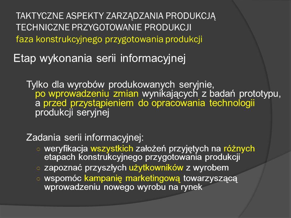 TAKTYCZNE ASPEKTY ZARZĄDZANIA PRODUKCJĄ TECHNICZNE PRZYGOTOWANIE PRODUKCJI faza konstrukcyjnego przygotowania produkcji Etap wykonania serii informacy