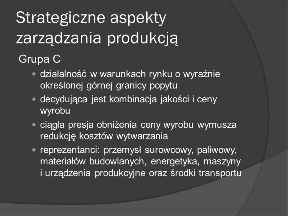 Strategiczne aspekty zarządzania produkcją Grupa C działalność w warunkach rynku o wyraźnie określonej górnej granicy popytu decydująca jest kombinacja jakości i ceny wyrobu ciągła presja obniżenia ceny wyrobu wymusza redukcję kosztów wytwarzania reprezentanci: przemysł surowcowy, paliwowy, materiałów budowlanych, energetyka, maszyny i urządzenia produkcyjne oraz środki transportu