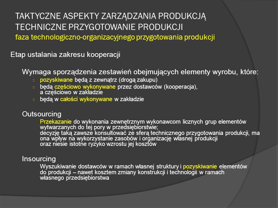TAKTYCZNE ASPEKTY ZARZĄDZANIA PRODUKCJĄ TECHNICZNE PRZYGOTOWANIE PRODUKCJI faza technologiczno-organizacyjnego przygotowania produkcji Etap ustalania zakresu kooperacji Wymaga sporządzenia zestawień obejmujących elementy wyrobu, które: ○ pozyskiwane będą z zewnątrz (drogą zakupu) ○ będą częściowo wykonywane przez dostawców (kooperacja), a częściowo w zakładzie ○ będą w całości wykonywane w zakładzie Outsourcing Przekazanie do wykonania zewnętrznym wykonawcom licznych grup elementów wytwarzanych do tej pory w przedsiębiorstwie; decyzję taką zawsze konsultować ze sferą technicznego przygotowania produkcji, ma ona wpływ na wykorzystanie zasobów i organizację własnej produkcji oraz niesie istotne ryzyko wzrostu jej kosztów Insourcing Wyszukiwanie dostawców w ramach własnej struktury i pozyskiwanie elementów do produkcji – nawet kosztem zmiany konstrukcji i technologii w ramach własnego przedsiębiorstwa