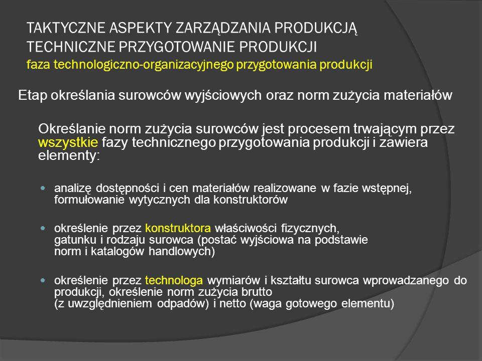 TAKTYCZNE ASPEKTY ZARZĄDZANIA PRODUKCJĄ TECHNICZNE PRZYGOTOWANIE PRODUKCJI faza technologiczno-organizacyjnego przygotowania produkcji Etap określania surowców wyjściowych oraz norm zużycia materiałów Określanie norm zużycia surowców jest procesem trwającym przez wszystkie fazy technicznego przygotowania produkcji i zawiera elementy: analizę dostępności i cen materiałów realizowane w fazie wstępnej, formułowanie wytycznych dla konstruktorów określenie przez konstruktora właściwości fizycznych, gatunku i rodzaju surowca (postać wyjściowa na podstawie norm i katalogów handlowych) określenie przez technologa wymiarów i kształtu surowca wprowadzanego do produkcji, określenie norm zużycia brutto (z uwzględnieniem odpadów) i netto (waga gotowego elementu)