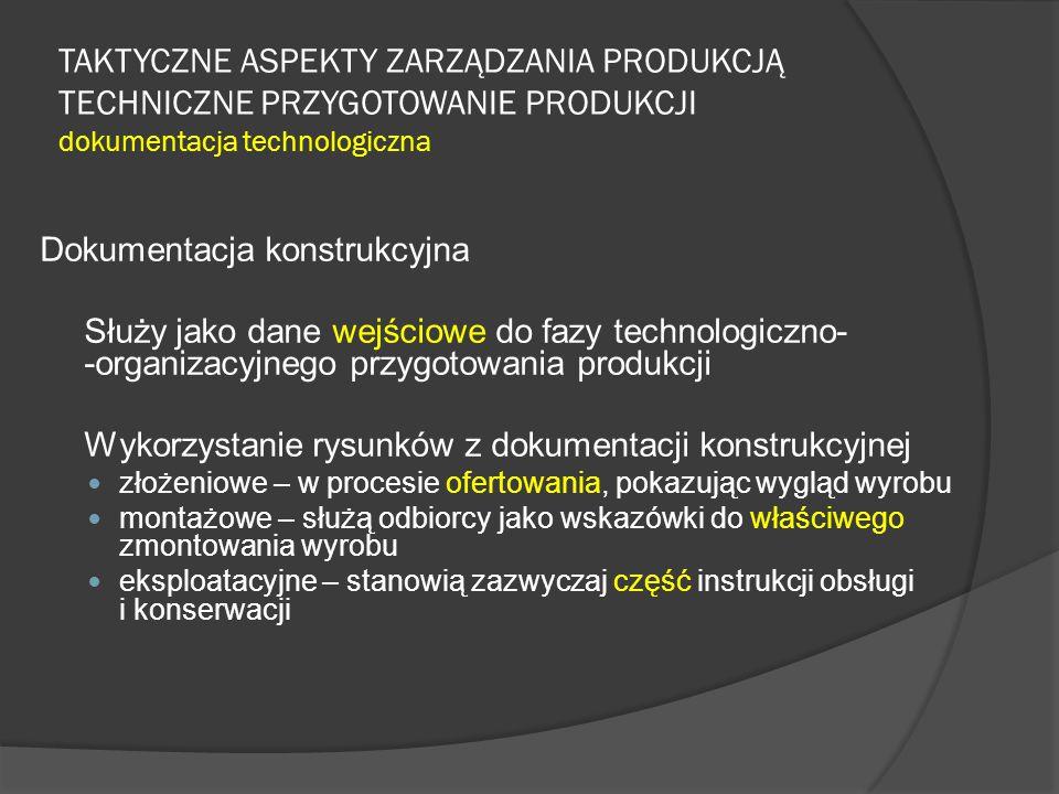 TAKTYCZNE ASPEKTY ZARZĄDZANIA PRODUKCJĄ TECHNICZNE PRZYGOTOWANIE PRODUKCJI dokumentacja technologiczna Dokumentacja konstrukcyjna Służy jako dane wejściowe do fazy technologiczno- -organizacyjnego przygotowania produkcji Wykorzystanie rysunków z dokumentacji konstrukcyjnej złożeniowe – w procesie ofertowania, pokazując wygląd wyrobu montażowe – służą odbiorcy jako wskazówki do właściwego zmontowania wyrobu eksploatacyjne – stanowią zazwyczaj część instrukcji obsługi i konserwacji