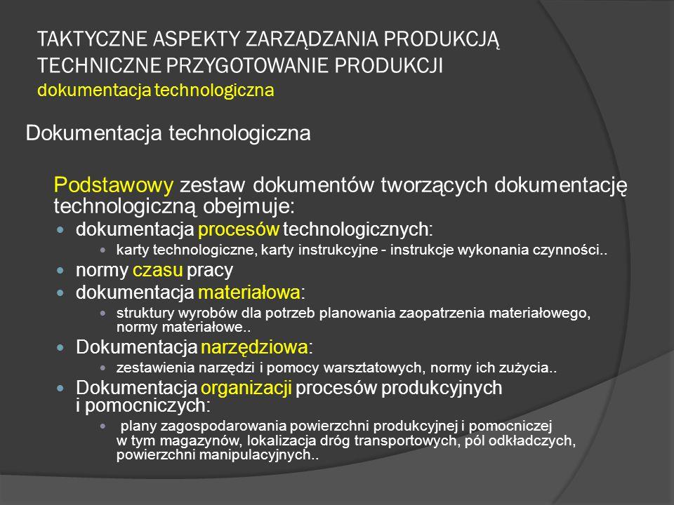 TAKTYCZNE ASPEKTY ZARZĄDZANIA PRODUKCJĄ TECHNICZNE PRZYGOTOWANIE PRODUKCJI dokumentacja technologiczna Dokumentacja technologiczna Podstawowy zestaw dokumentów tworzących dokumentację technologiczną obejmuje: dokumentacja procesów technologicznych: karty technologiczne, karty instrukcyjne - instrukcje wykonania czynności..