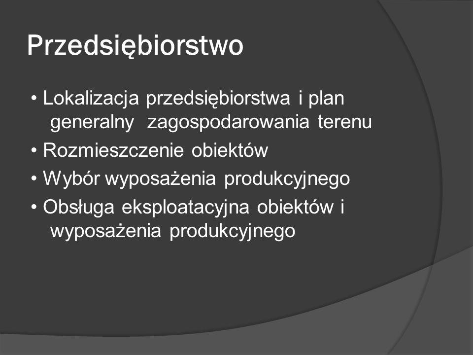 Przedsiębiorstwo Lokalizacja przedsiębiorstwa i plan generalny zagospodarowania terenu Rozmieszczenie obiektów Wybór wyposażenia produkcyjnego Obsługa