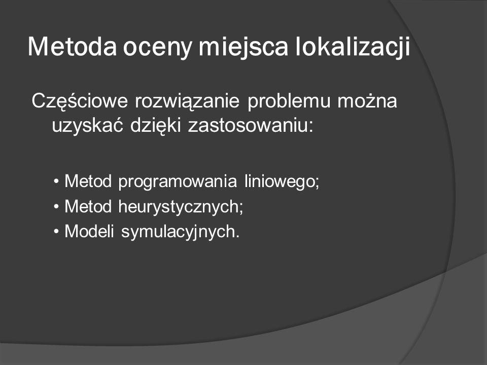 Metoda oceny miejsca lokalizacji Częściowe rozwiązanie problemu można uzyskać dzięki zastosowaniu: Metod programowania liniowego; Metod heurystycznych; Modeli symulacyjnych.