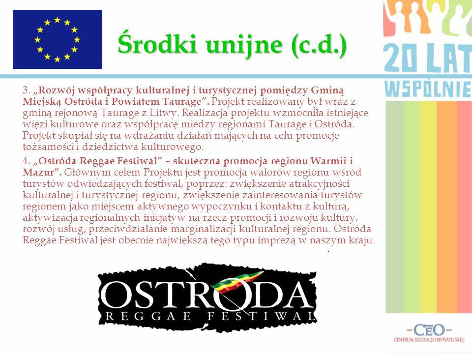 """Środki unijne (c.d.) 3. """"Rozwój współpracy kulturalnej i turystycznej pomiędzy Gminą Miejską Ostróda i Powiatem Taurage"""". Projekt realizowany był wraz"""