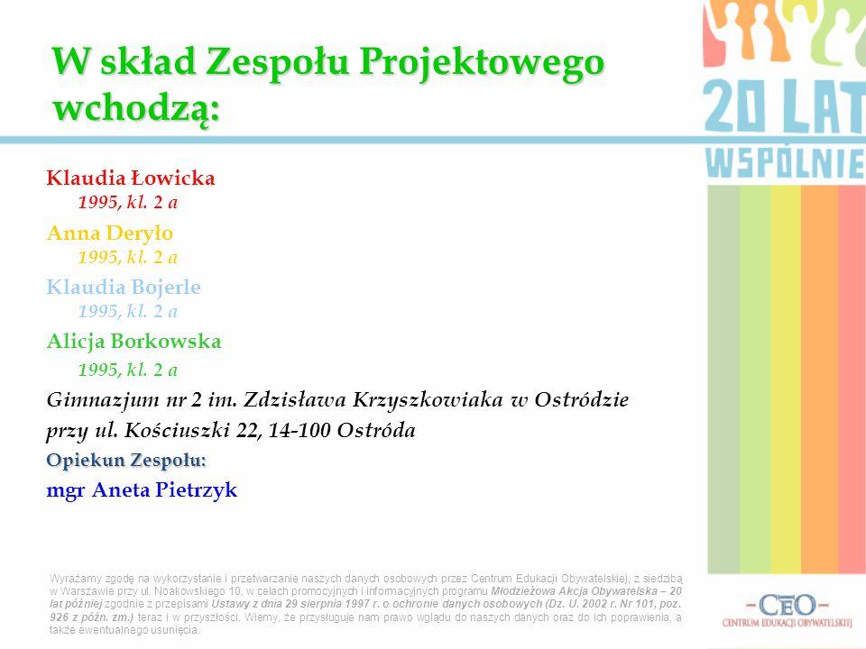 Klaudia Łowicka 1995, kl. 2 a Anna Deryło 1995, kl. 2 a Klaudia Bojerle 1995, kl. 2 a Alicja Borkowska 1995, kl. 2 a Gimnazjum nr 2 im. Zdzisława Krzy