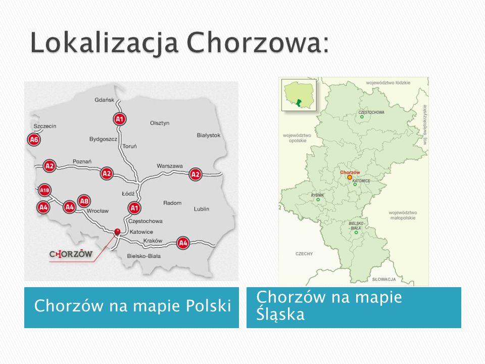 Chorzów na mapie Polski Chorzów na mapie Śląska