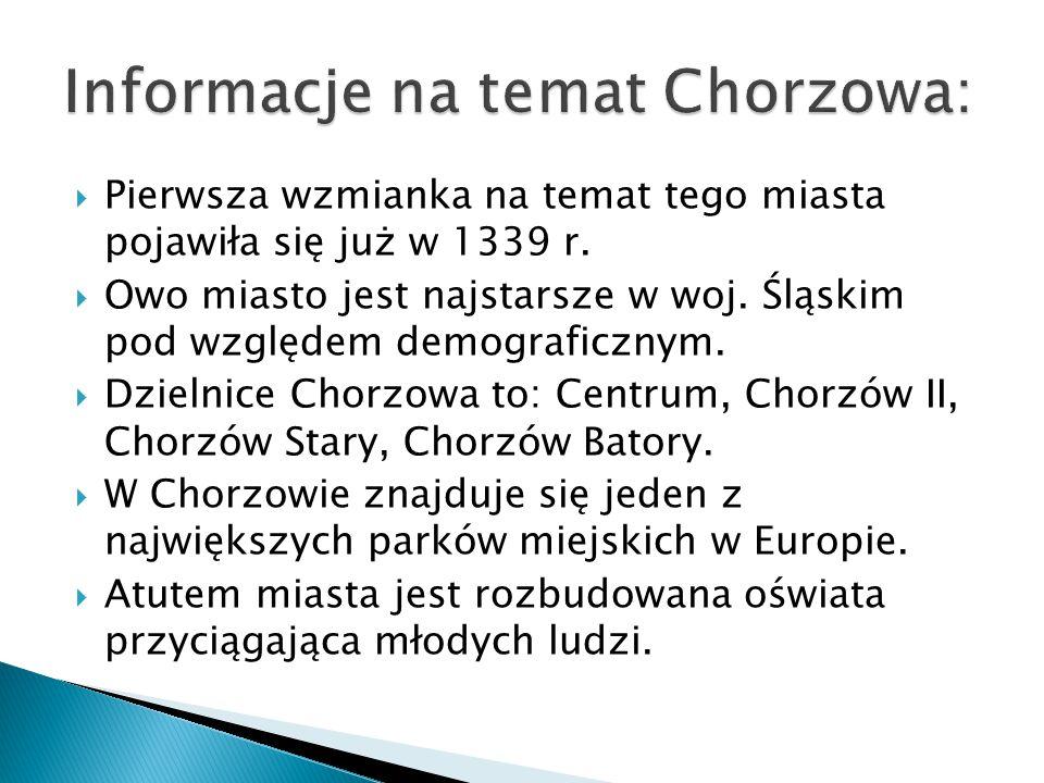  Pierwsza wzmianka na temat tego miasta pojawiła się już w 1339 r.  Owo miasto jest najstarsze w woj. Śląskim pod względem demograficznym.  Dzielni