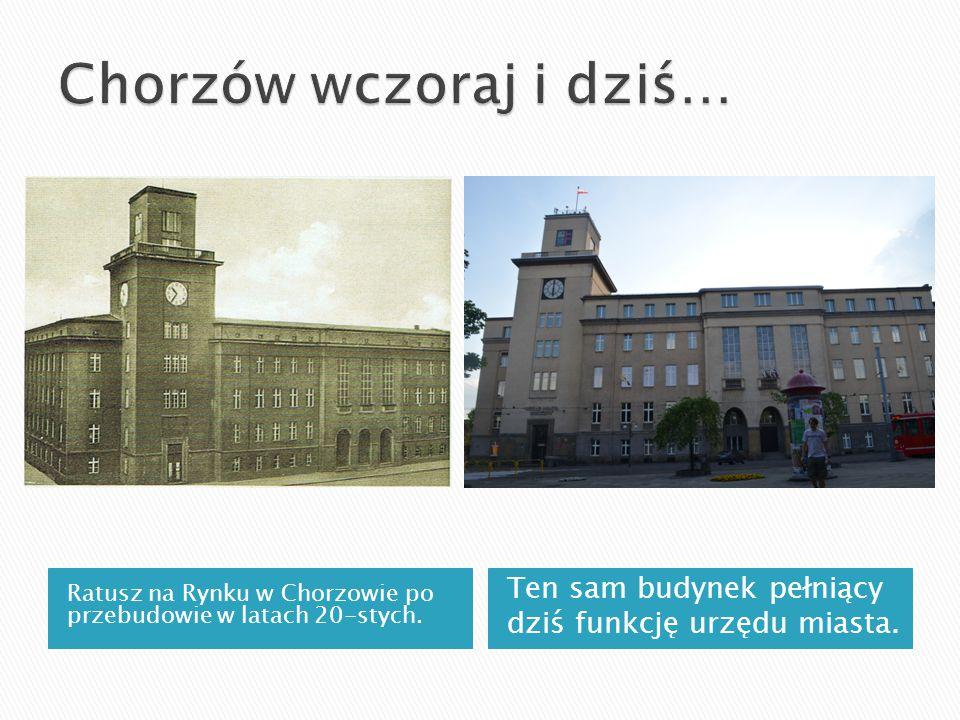 Ratusz na Rynku w Chorzowie po przebudowie w latach 20-stych. Ten sam budynek pełniący dziś funkcję urzędu miasta.