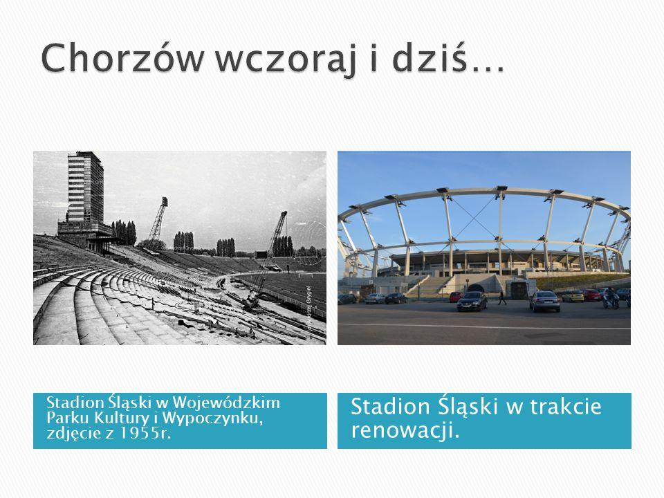 Stadion Śląski w Wojewódzkim Parku Kultury i Wypoczynku, zdjęcie z 1955r. Stadion Śląski w trakcie renowacji.