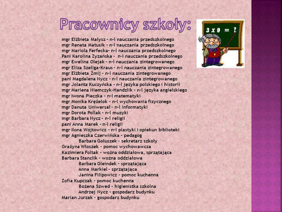 mgr Elżbieta Małysz – n-l nauczania przedszkolnego mgr Renata Matusik – n-l nauczania przedszkolnego mgr Mariola Ferfecka– n-l nauczania przedszkolnego Pani Karolina Zyzańska - n-l nauczania przedszkolnego mgr Ewelina Olejak – n-l nauczania zintegrowanego mgr Eliza Szeliga-Kraus – n-l nauczania zintegrowanego mgr Elżbieta Żmij – n-l nauczania zintegrowanego pani Magdalena Nycz - n-l nauczania zintegrowanego mgr Jolanta Kuczyńska – n-l języka polskiego i historii mgr Marlena Niemczyk-Handzlik – n-l języka angielskiego mgr Iwona Pieczka – n-l matematyki mgr Monika Krężelok – n-l wychowania fizycznego mgr Danuta Uniwersał – n-l informatyki mgr Dorota Pollak – n-l muzyki mgr Barbara Nycz – n-l religii pani Anna Marek – n-l religii mgr Ilona Wójtowicz – n-l plastyki i opiekun biblioteki mgr Agnieszka Czerwińska - pedagog Barbara Gołuszek – sekretarz szkoły Grażyna Włoszek - pomoc wychowawcza Kazimiera Foltak - woźna oddziałowa, sprzątająca Barbara Stanclik - woźna oddziałowa Barbara Gleindek – sprzątająca Anna Markiel – sprzątająca Janina Filipowicz - pomoc kuchenna Zofia Kupczak - pomoc kuchenna Bożena Szwed - higienistka szkolna Andrzej Nycz - gospodarz budynku Marian Jurzak - gospodarz budynku