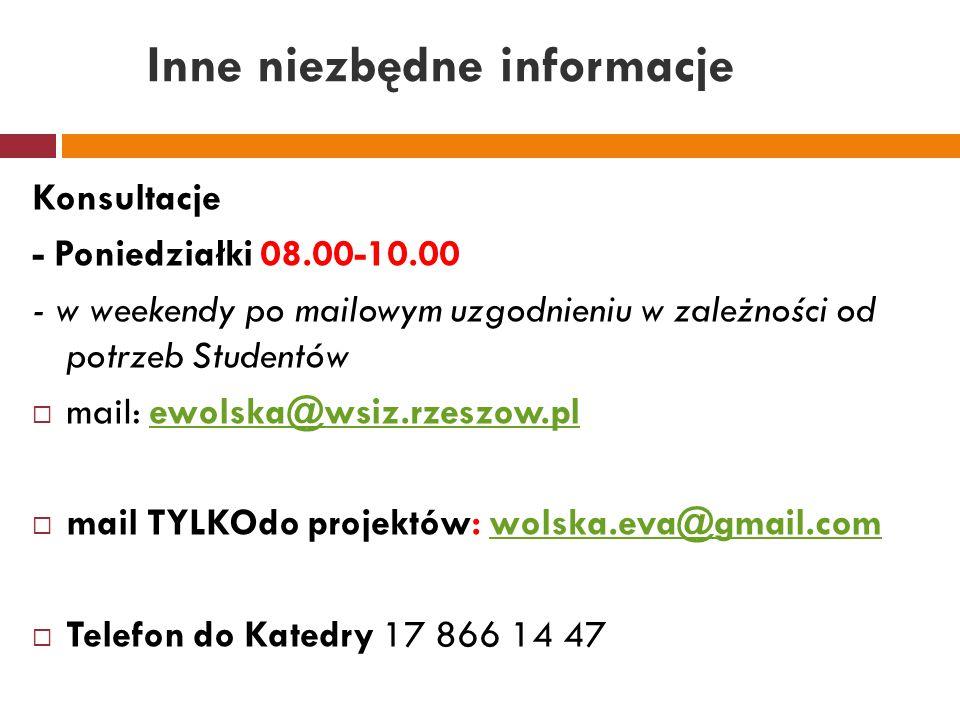 Inne niezbędne informacje Konsultacje - Poniedziałki 08.00-10.00 - w weekendy po mailowym uzgodnieniu w zależności od potrzeb Studentów  mail: ewolsk