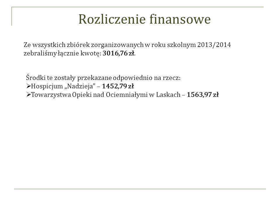 Rozliczenie finansowe Ze wszystkich zbiórek zorganizowanych w roku szkolnym 2013/2014 zebraliśmy łącznie kwotę: 3016,76 zł.