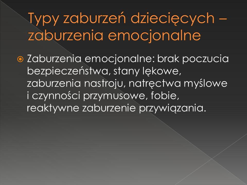  Zaburzenia emocjonalne: brak poczucia bezpieczeństwa, stany lękowe, zaburzenia nastroju, natręctwa myślowe i czynności przymusowe, fobie, reaktywne