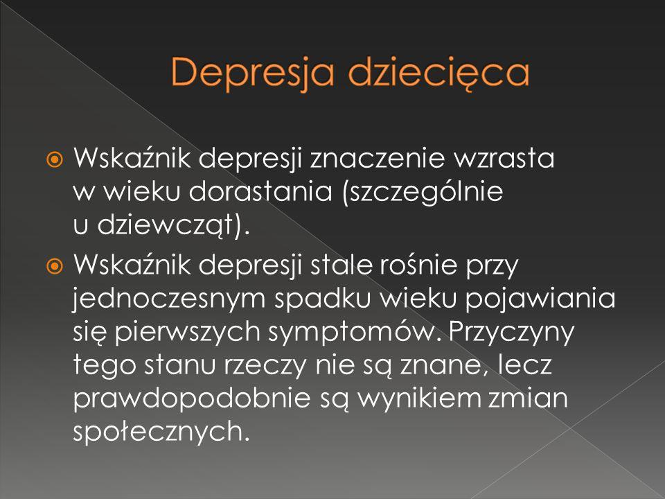  Wskaźnik depresji znaczenie wzrasta w wieku dorastania (szczególnie u dziewcząt).  Wskaźnik depresji stale rośnie przy jednoczesnym spadku wieku po
