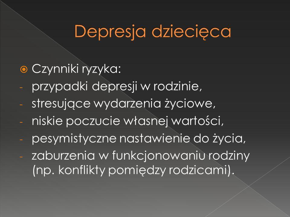  Czynniki ryzyka: - przypadki depresji w rodzinie, - stresujące wydarzenia życiowe, - niskie poczucie własnej wartości, - pesymistyczne nastawienie d