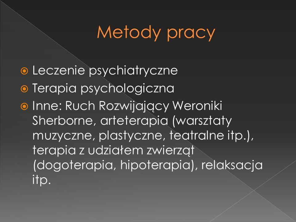  Leczenie psychiatryczne  Terapia psychologiczna  Inne: Ruch Rozwijający Weroniki Sherborne, arteterapia (warsztaty muzyczne, plastyczne, teatralne