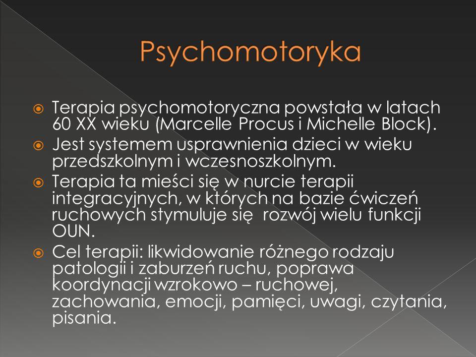  Terapia psychomotoryczna powstała w latach 60 XX wieku (Marcelle Procus i Michelle Block).  Jest systemem usprawnienia dzieci w wieku przedszkolnym
