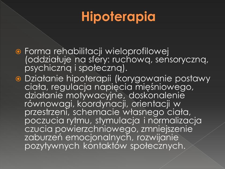  Forma rehabilitacji wieloprofilowej (oddziałuje na sfery: ruchową, sensoryczną, psychiczną i społeczną).  Działanie hipoterapii (korygowanie postaw