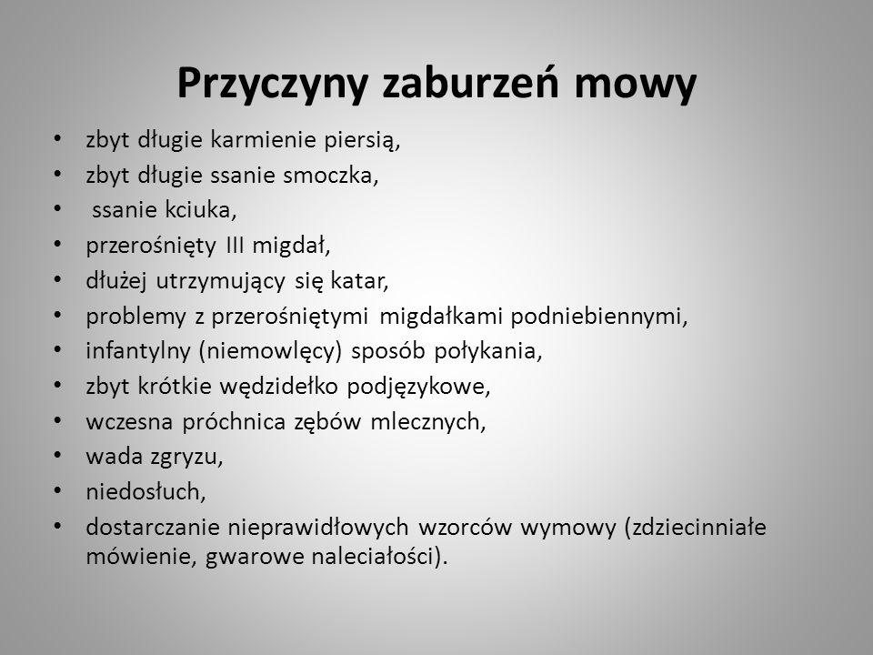 Przyczyny zaburzeń mowy zbyt długie karmienie piersią, zbyt długie ssanie smoczka, ssanie kciuka, przerośnięty III migdał, dłużej utrzymujący się katar, problemy z przerośniętymi migdałkami podniebiennymi, infantylny (niemowlęcy) sposób połykania, zbyt krótkie wędzidełko podjęzykowe, wczesna próchnica zębów mlecznych, wada zgryzu, niedosłuch, dostarczanie nieprawidłowych wzorców wymowy (zdziecinniałe mówienie, gwarowe naleciałości).